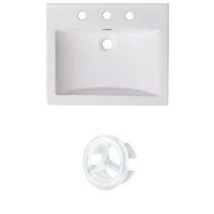American Imaginations 21-in White Ceramic Centerset Vanity Top Set White Overflow Cap