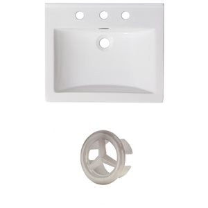 American Imaginations 21-in White Ceramic Centerset Vanity Top Set Brushed Nickle Overflow Cap