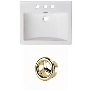 American Imaginations 21-in White Ceramic Centerset Vanity Top Set Gold Overflow Cap