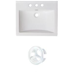 American Imaginations 21-in White Ceramic Centerset Vanity Top Set White Overflow Cap