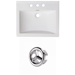 American Imaginations 21-in White Ceramic Centerset Vanity Top Set Chrome Overflow Cap