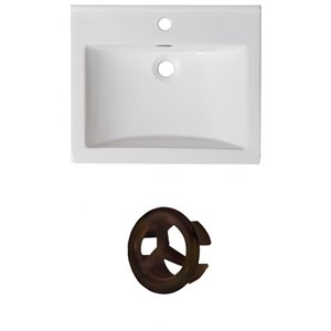 American Imaginations 21-in White Ceramic Single Whole Vanity Top Set Oil Rubbed Bronze Overflow Cap