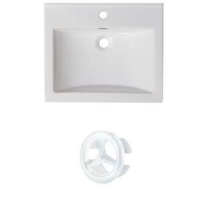 American Imaginations 21-in White Ceramic Single Hole Vanity Top Set White Overflow Cap