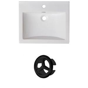 American Imaginations 21-in White Ceramic Single Hole Vanity Top Set Black Overflow Cap