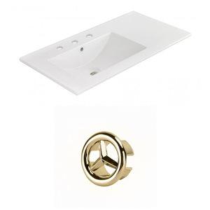 American Imaginations 35.5-in White Ceramic Widespread Vanity Top Set Gold Overflow Cap