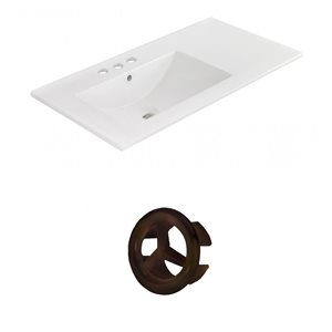 American Imaginations 35.5-in White Ceramic Widespread Vanity Top Set Oil Rubbed Bronze Overflow Cap