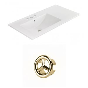 American Imaginations 35.5-in White Ceramic Widespread Vanity Top Set Gold Overflow Cap