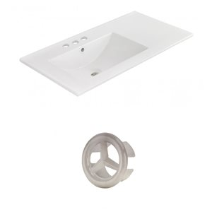 American Imaginations 35.5-in White Ceramic Widespread Vanity Top Set Brushed Nickel Overflow Cap