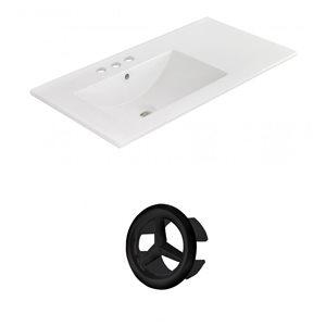 American Imaginations 35.5-in White Ceramic Widespread Vanity Top Set Black Overflow Cap