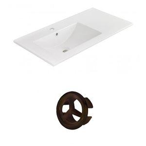 American Imaginations 35.5-in White Ceramic Widespread Vanity Top Set Oil Rubbed Bronze Overflow Cap