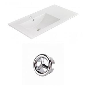 American Imaginations 35.5-in White Ceramic Single Hole Vanity Top Set Chrome Overflow Cap