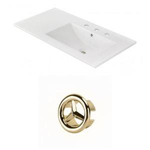 American Imaginations 35.5-in White Ceramic Centerset  Vanity Top Set Gold Overflow Cap