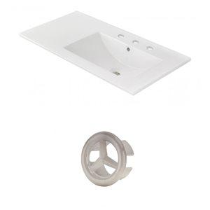 American Imaginations 35.5-in White Ceramic Centerset  Vanity Top Set Brushed Nickel Overflow Cap