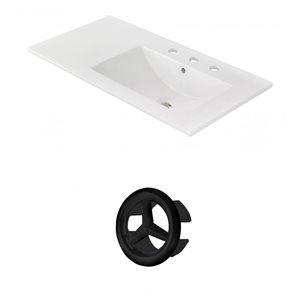 American Imaginations 35.5-in White Ceramic Centerset  Vanity Top Set Black Overflow Cap