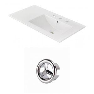 American Imaginations 35.5-in White Ceramic Centerset  Vanity Top Set Chrome Overflow Cap