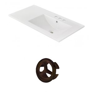 American Imaginations 35.5-in White Ceramic Centerset  Vanity Top Set Oil Rubbed Bronze Overflow Cap
