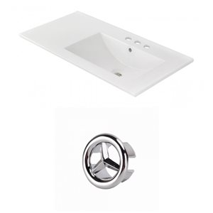 American Imaginations 35.5-in White Ceramic Centerset  Vanity Top Set Chrome Overflow Cap