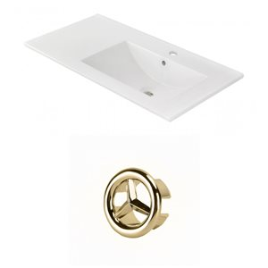 American Imaginations 35.5-in White Ceramic Single Hole  Vanity Top Set Gold Overflow Cap