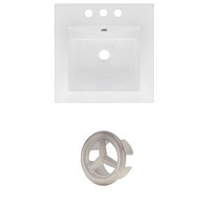 American Imaginations 16.5 x 16.5-in White Ceramic Centerset Vanity Top Set Brushed Nickel Overfow Cap