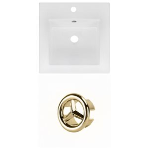 American Imaginations 16.5 x 16.5-in White Ceramic Single Hole Vanity Top Set Gold Overfow Cap
