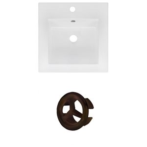 American Imaginations 16.5 x 16.5-in White Ceramic Single Hole Vanity Top Set Oil Rubbed Bronze Overfow Cap