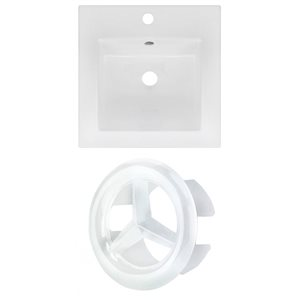 American Imaginations 16.5 x 16.5-in White Ceramic Single Hole Vanity Top Set White Overfow Cap