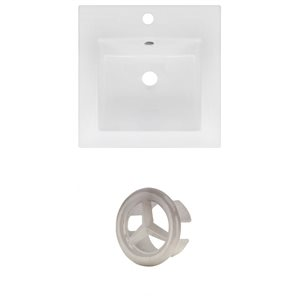 American Imaginations 16.5 x 16.5-in White Ceramic Single Hole Vanity Top Set Brushed NIckel Overfow Cap