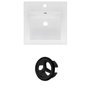 American Imaginations 16.5 x 16.5-in White Ceramic Single Hole Vanity Top Set Black Overfow Cap