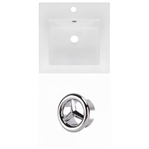 American Imaginations 16.5 x 16.5-in White Ceramic Single Hole Vanity Top Set Chrome Overfow Cap