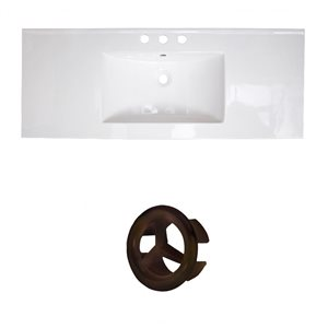 American Imaginations 39.75-in White Ceramic Top Set with Oil Rubbed Bronze Overflow Cap