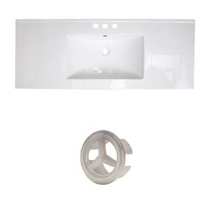 American Imaginations 39.75-in White Ceramic Top Set with Brushed Nickel Overflow Cap