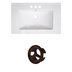 American Imaginations Vee 30-in White Ceramic Vanity Top Set with Oil Rubbed Bronze Overflow Cap