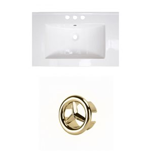 American Imaginations 21-in White Ceramic Centerset Vanity Top Set Gold Overflow Cap