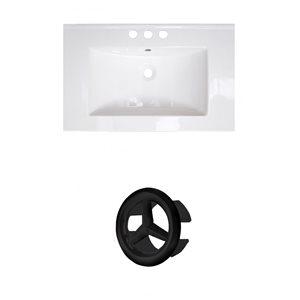 American Imaginations 21-in White Ceramic Centerset Vanity Top Set Black Overflow Cap