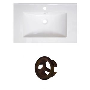 American Imaginations Vee 30-in White Ceramic Vanity Top Set with Oil Rubbed Bronze Overflow Cap Single Hole