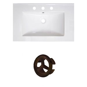 American Imaginations Vee 30-in White Ceramic Vanity Top Set with Oil Rubbed Bronze Overflow Cap