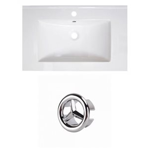 American Imaginations Vee 30-in White Ceramic Vanity Top Set with Chrome Overflow Cap Single Hole