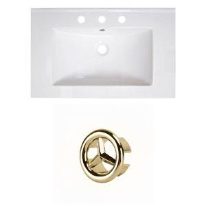American Imaginations Vee 30-in White Ceramic Vanity Top Set with Gold Overflow Cap
