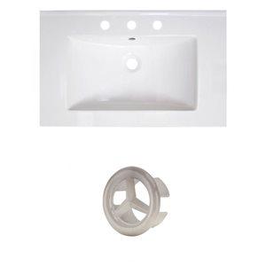 American Imaginations Vee 30-in White Ceramic Vanity Top Set with Brushed Nickel Overflow Cap