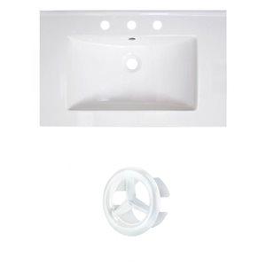 American Imaginations Vee 30-in White Ceramic Vanity Top Set with White Overflow Cap