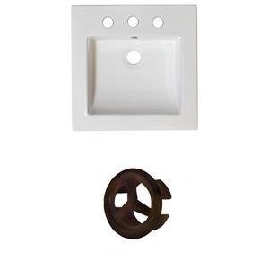 American Imaginations Nikki 21.5-in White Ceramic Vanity Top Set Widespread Oil Rubbed Bronze Overflow Cap