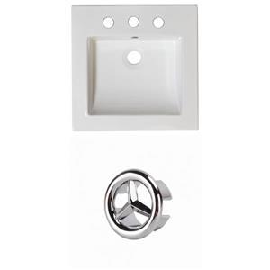 American Imaginations Nikki 21.5-in White Ceramic Vanity Top Set Widespread Chrome Overflow Cap