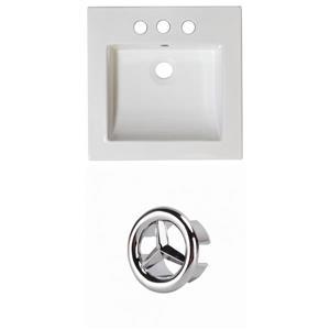 American Imaginations Nikki 21.5-in White Ceramic Vanity Top Set Centerset Chrome Overflow Cap