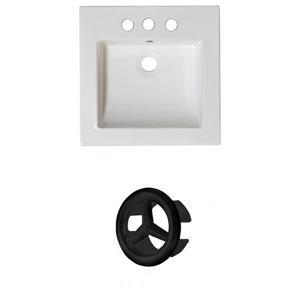 American Imaginations Nikki 21.5-in White Ceramic Vanity Top Set Centerset Black Overflow Cap