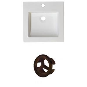 American Imaginations Nikki 21.5-in White Ceramic Vanity Top Set Single Hole Oil Rubbed Bronze Overflow Cap
