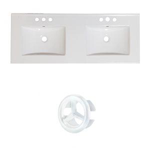 American Imaginations Xena 59-in White Ceramic Widespread Vanity Top Set White Overflow Cap