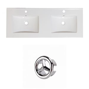 American Imaginations Xena 59-in Dual White Ceramic Vantiy Top Set with White Overflow Cap Single Hole
