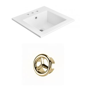 American Imaginations 21-in White Ceramic Top Set With Gold Overflow Cap
