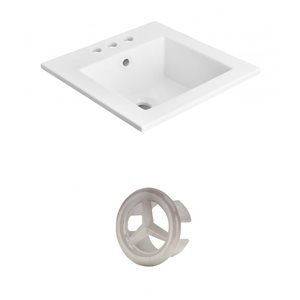 American Imaginations 21-in White Ceramic Top Set With Brushed Nickel Overflow Cap