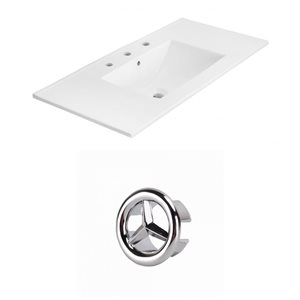American Imaginations Xena 35.5-in White Ceramic Wide Spread  Vanity Top Set Chrome Overflow Cap